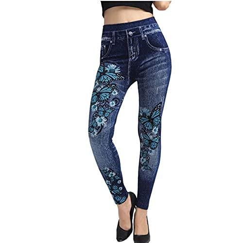 GenericBrands Pantalones Vaqueros de Mujer Pantalones lápiz Primavera Otoño Leggings de Mezclilla Bottoms Estampado de Mariposas Pantalones elásticos Ajustados Push Up
