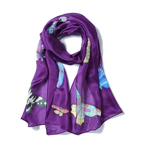 Invisible World Pañuelo Cabeza de Seda Foulard de Pelo Ligera Pintado a Mano para Mujer Mariposa Púrpura