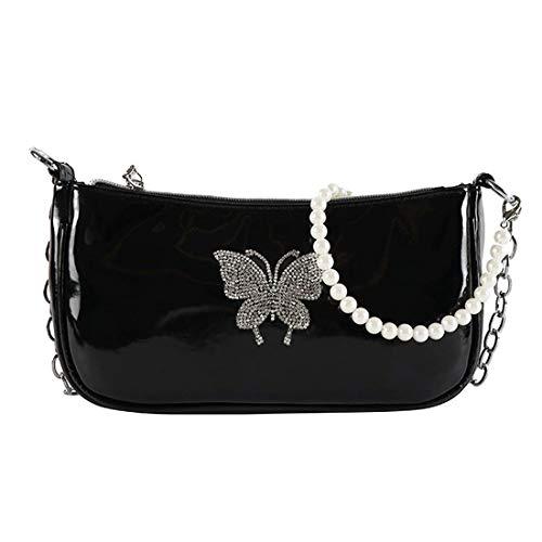 SUGARBABY Bolso de hombro negro con mariposa brillante, estilo años 90, estilo retro