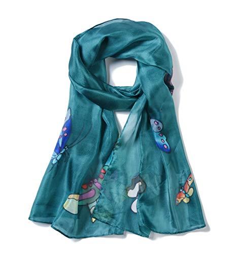 Invisible World Pañuelo Cabeza de Seda Foulard de Pelo Ligera Pintado a Mano para Mujer Mariposa Verde Azulado
