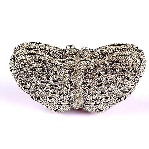 BXGZXYQ Bolso de Mariposa de Calado Cena con Cadena de Diamantes Bolso de Mujer Bolso de señora Bolso de Cena Cadena de Cruz Bolso pequeño Bolso de Banquete (Color : 4)