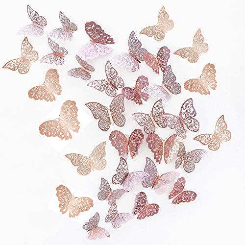 JUN-H 36 Piezas Mariposas 3D Mariposas Decorativas Pegatinas de Pared Arte Tatuajes de DIY Dormitorio Tatuajes de Decoración de Bebé Extraíble Mural de Pared Decorativo (Rosa roja)