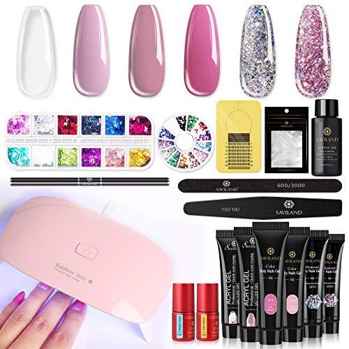 Saviland Poly Nails Gel Kit con secador de uñas – Glitter Poly Nails Gel extensión de uñas Gel para uñas principiantes DIY en casa