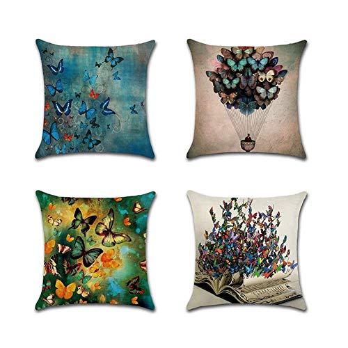 ZHAS Fundas de Almohada para sofá 4 Paquetes de Tela de Aspecto de Lino Natural Sofá Decorativo Fundas de Almohada de cojín Cuadrado 18 x 18 Pulgadas (Color: Mariposa)