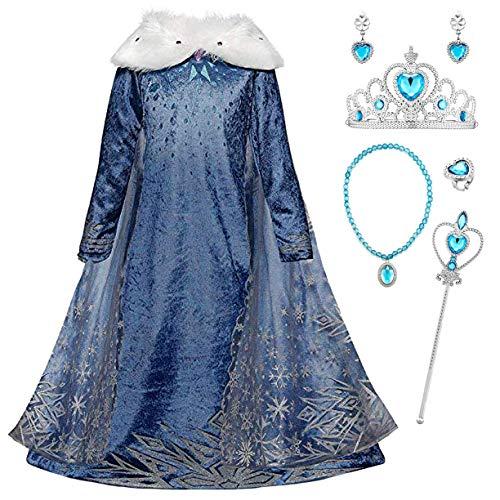 Monissy Reyna de Nieve Princesa Elsa Cosplay Vestido Niña Azul Terciopelo Manga Larga Capa Tul Hielo Nieve Estampado Asimétrico Frozen Traje Boda Cumpleaños Canarval