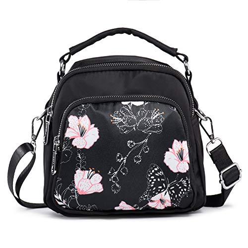 LaRechor Bolso Bandolera Pequeño con 2 Cremallera - Mini Mochila Mujer Bolso de Viaje Boda Noche - Bolsa de Flores Elegante Ligero