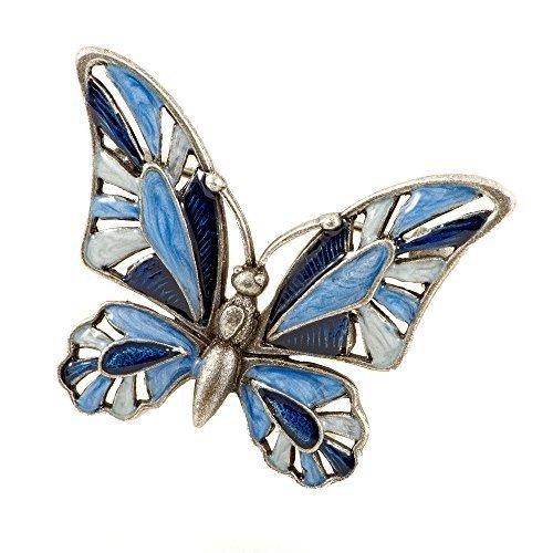 Broche de mujer mariposa azul esmalte pintado a mano