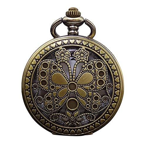 Relojes de Bolsillo y Fob para Hombre Reloj de Bolsillo de Cuarzo de Estilo Antiguo con Mariposa de Vapor Hueco Retro para el día de Aniversario de cumpleaños
