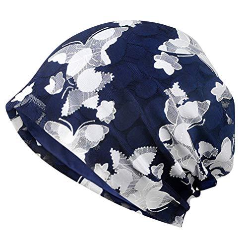NONE Gorras de Turbante para Mujer Gorro con Gorro Estampado de Mariposa Gorro de Algodón Gorro de Quimio Holgado