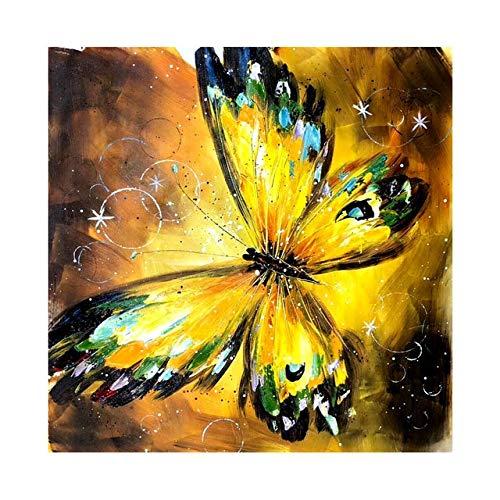 ZHUAIBA 100% Pintado a Mano Abstracto Mariposa Arte Pintura sobre Lienzo Pared Arte Pared Adorno Cuadros Pintura para Sala de Estar decoración del hogar (85x85 cm) 34x34 Pulgadas a