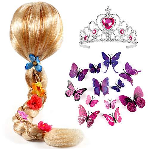 Tacobear Princesa Peluca Trenza con Princesa Corona y Mariposa Broche Princesa Sofia Disfraz Accesorios para niñas