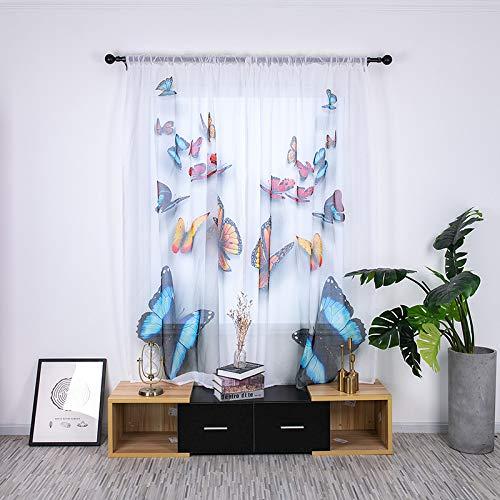 Boyouth Cortinas de gasa transparente de color blanco con estampado de mariposas para ventana pequeña, para dormitorio, estudio, sala de estar, multicolor, 2 paneles, 53 x 78 pulgadas
