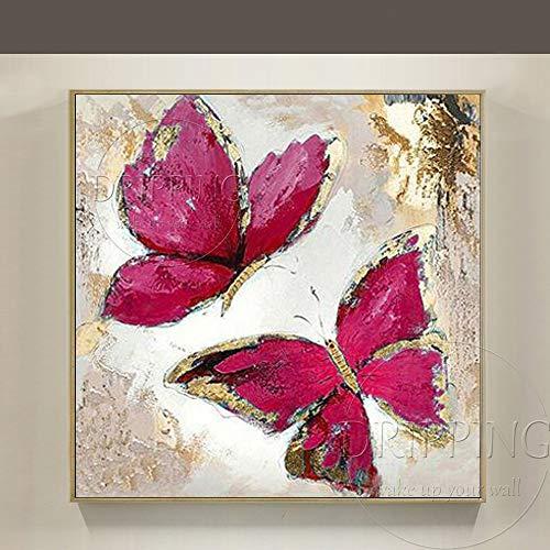 WNCZ Cuadro de Pared Pintado a Mano Puro Mariposa Abstracta con lámina Dorada Pintura sobre Lienzo Cuadro de Pared Moderno Mariposa Pintura al óleo 120x120CM