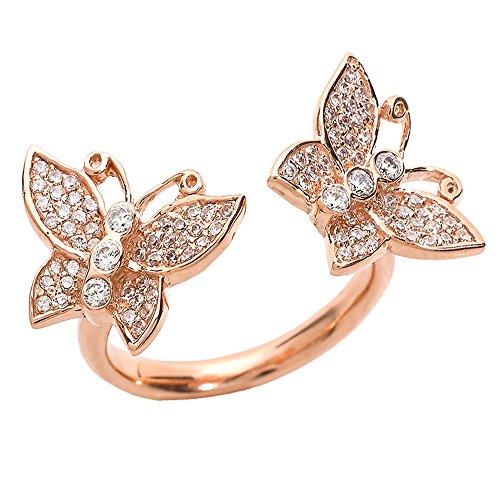 Pequeños Tesoros - Anillos Damas 14 Kt Oro Rosa 585/1000 Diamantes Doble Mariposa