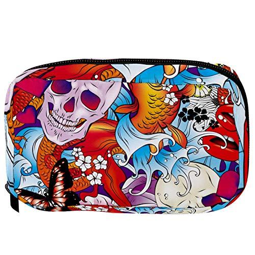 LORVIES - Bolsa de cosméticos con diseño de calavera y mariposas