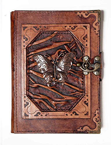 Artesanal Diario Encuadernado en Cuero Colgante Mariposa Cuaderno Diario - Marron, Large