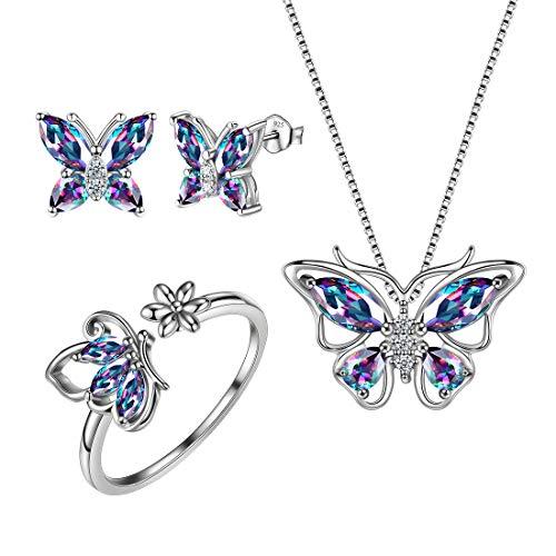 Aurora Tears 925 - Juego de collar y pendientes de mariposa con piedra natal para mujeres y niñas, Topaz,