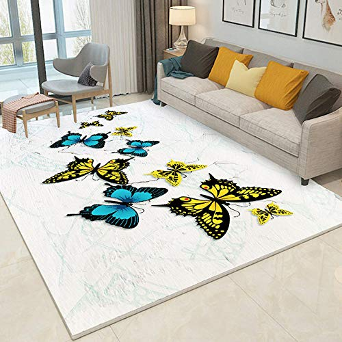 Kunsen Alfombras Adornos Salon Suave Dormitorio mesita de Noche Crema Amarillo Negro Mariposa Antideslizantes alfombras Room Decor 300 * 400cm