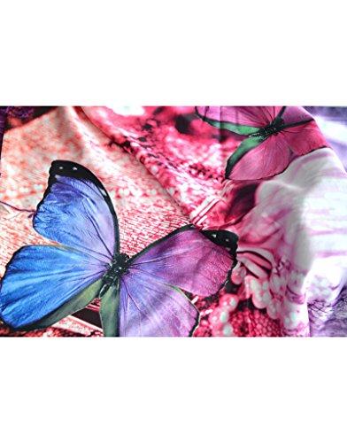 Hogar y Mas Pañuelo de Seda 100% Natural, con Dos Caras y Flecos, Modelo Mariposa, colección otoño-Invierno