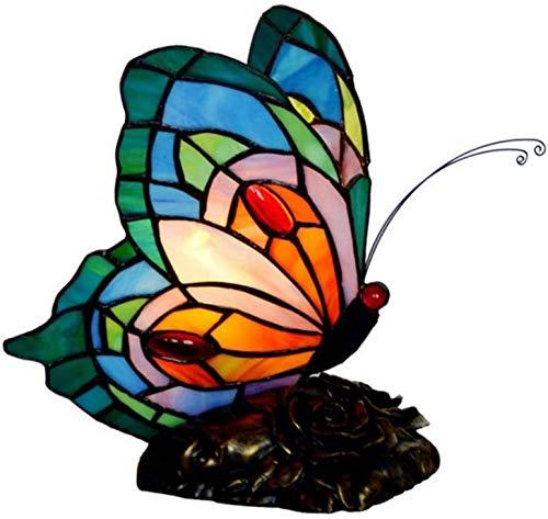 Lámpara De Mesa Acento Mariposa del Vitral De Tiffany Estilo Luz En La Noche con 8,5 Pulgadas De Ancho por Habitación Mano Sala De Sombra Viviente