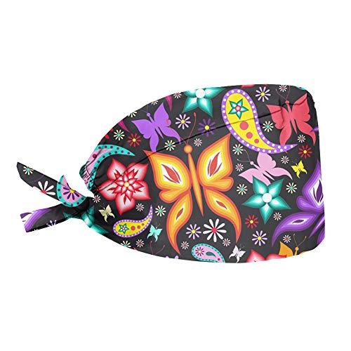 Woisttop Coloridas flores mariposa diseño pre atado pañuelo cabeza bufanda turbante chemo sombrero cabeza abrigo para las mujeres