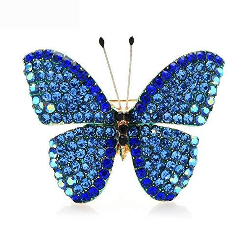 Broches de mariposa de diamantes de imitación completos para mujeres Unisex 4 colores Insectos Bodas Broches de oficina Regalos