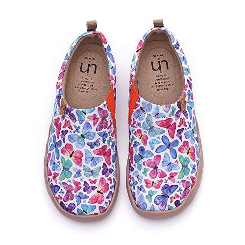 UIN Desigual Art Zapatos Mariposa Colorida Casual comodas el naturalista imprimio Mujer, Lona,Vestir,Plano,Mocasines Verano,niña,señora, Zapatillas Viaje Seguridad 42