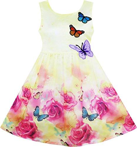 Vestido para niña Rosa Flor Impresión Mariposa Bordado Morado 10 años