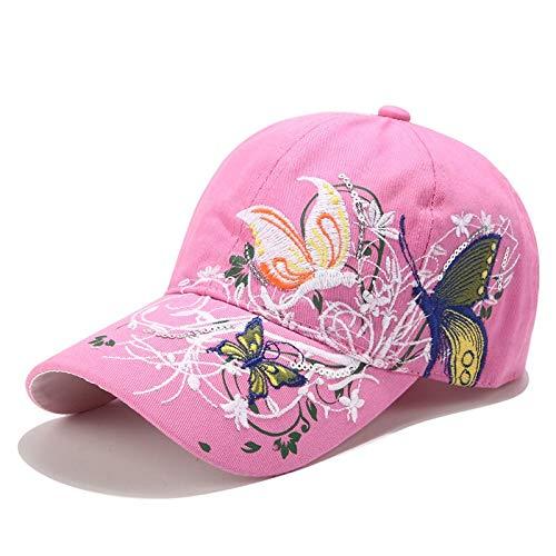 WAZHX Moda Mujer Flor Mariposa Gorra De Béisbol Mujer Bordado AlgodónSombrero HuesoMujer Verano Casual Hip Hop Gorra Pink2