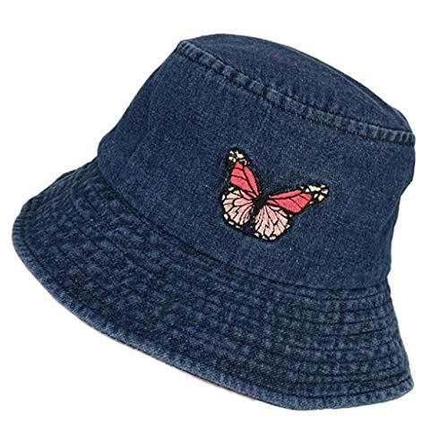 GUMEI - Gorra de Pescador de Panamá con Bordado de Mariposa, de algodón Lavado, Unisex