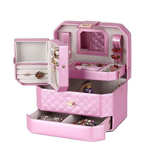 Cajas para Joyas Caja Joyero Cajas Y Organizadores Bolsas para Joyas Caja De Joyas Mariposa De Cuero Estilo Europeo Casada Regalo Portátil ZHAOYONGLI (Color : Pink)
