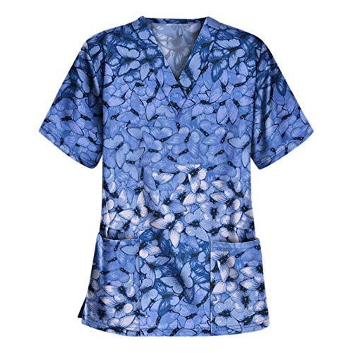Camiseta de Mujer Uniforme de Mujer Estampado de Mariposas Uniforme de Trabajo Top de Manga Corta con Dos Grandes Bolsillos Blusa para Mujer