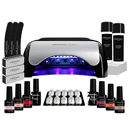 Lampara UV y LED 48W - Set Completo Secador de Uñas Gel Manicura y Pedicura - Kit Edition Ruby con 6 esmaltes semipermanentes para uñas - Cruelty free, Meanail Paris