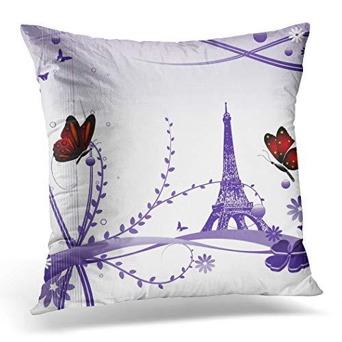 Awowee Funda de cojín de 40 x 40 cm, diseño de mariposas rojas, varias plantas y la Torre Eiffel, decoración del hogar, funda de almohada cuadrada para sofá de cama