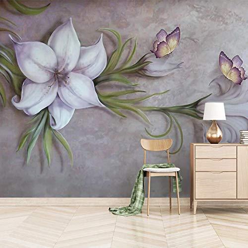 SUNNYBZ 3D Mural De Pared Flores Mariposas Plantas Sencillez. 300X210 Cm Niños Niños Bebés Habitación Guardería Cómic Toy Store Oficina Decoración Extraíble Autoadhesiva Decoración Mural Arte Vinilo P