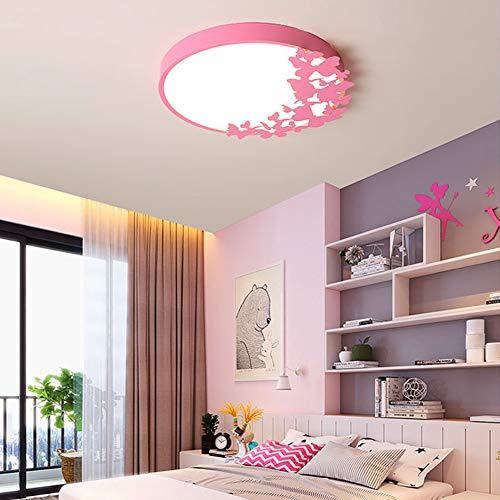 FCX-LIGHT Dormitorio Creativo Lámpara de Techo LED Habitación de Princesa Moderna Luz de Techo LED Regulable LED Plafón de Techo para habitación de niña,Rosado,50CM