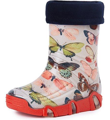 Ladeheid Botas de Agua Zapatos de Seguridad Calzado Unisex Niños Niñas Swk 28 (Mariposa, 27/28 EU)