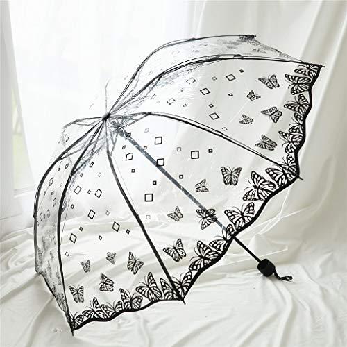 DAXINYANG Nuevo PVC Paraguas Mariposa Transparente, Paraguas De La Lluvia De Las Mujeres De Protección Ambiental Plegable para Las Mujeres A Prueba De Viento Paraguas,B