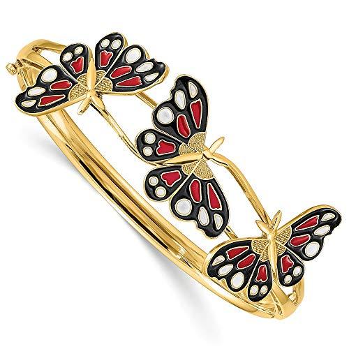Pulsera con bisagras de mariposa esmaltada pulida de 14 quilates