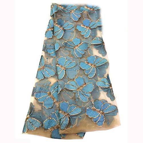 FANGX Tela de Encaje Africano 3D Lentejuela Mariposa Tela de Encaje de Bordada Vestido de Novia Mujer Vestido 125 cm de Ancho,C,10yds