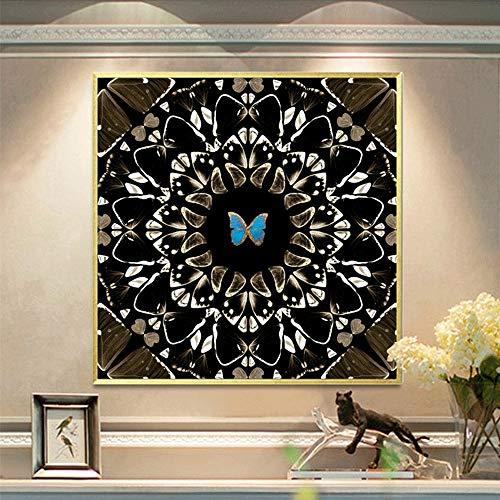 MQW Cuadro cuadrado de lujo con forma de mariposa de cristal de porcelana moderno abstracto, marco dorado, decoración de pared de hotel, hogar, sala de estar, 60 x 60 cm