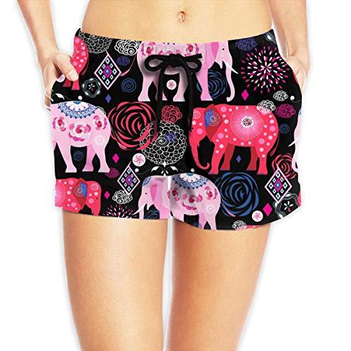 Redsheep Elefantes Rosas Mariposas Efthasis Shorts de Playa para Mujer Shorts de Playa con bañador de Bolsillo-X-Large