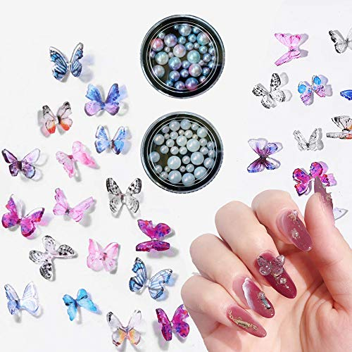 GOTONE 100PCS 3D Encantos de uñas Resina Mariposa + 2 cajas Multi-tamaño Perlas de imitación Ronda complete Perla Joyas De Uñas Decoración de uñas (100 piezas Colores al azar mariposa mixta)