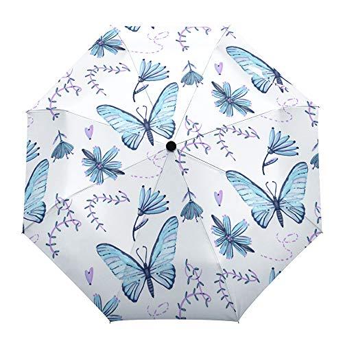 Paraguas plegable de viaje, diseño de mariposas, color azul, morado, para exteriores, apertura y cierre automático, compacto a prueba de viento, para niñas, mujeres, adultos