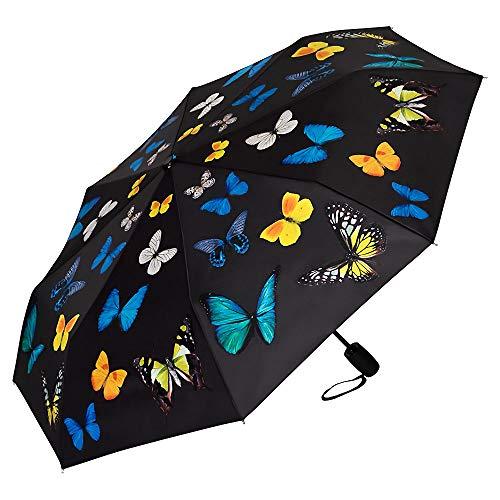 VON LILIENFELD Paraguas Bolsillo Plegable Ligero Estable Apertura y Cierre Automático Resistente al Viento Compacto Baile de Mariposas