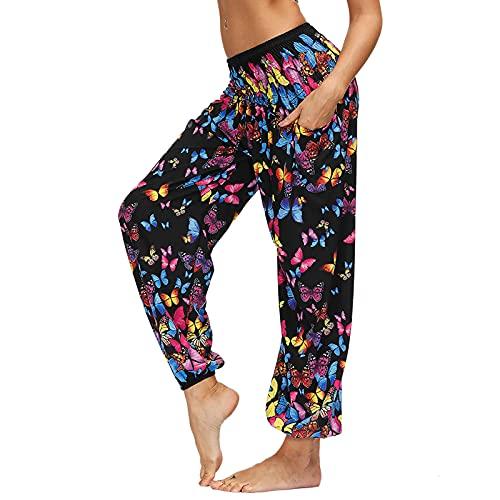 Nuofengkudu Mujer Yoga Pantalones Cintura Alta con Bolsillos Harem Hippies Baggy Tailandeses Estampado Verano Elastica Pilates Pantalon Pants Casual(Y-Mariposa Negra,Talla única)