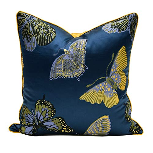 Tylyund Funda de cojín decorativa de lujo moderno azul profundo elegante mariposa jacquard artístico silla funda de cojín funda de cojín