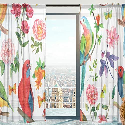 Mnsruu Cortinas de gasa transparente con diseño de pájaros, flores y mariposas, para dormitorio, sala de estar, 140 x 198 cm, 2 paneles