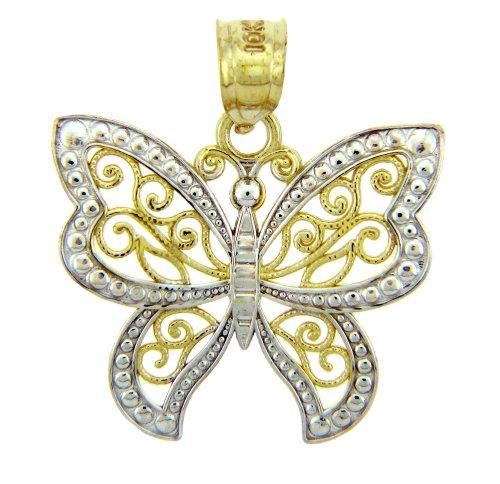 Pequeños Tesoros 14 Quilates De Dos Tonos Oro Blanco Encanto Mariposa Colgante