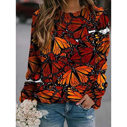 PKYGXZ Camisetas con Estampado de Mariposas para Mujer, pulóver Informal a la Moda, Sudadera, Camisetas de Manga Larga con Cuello Redondo, Blusas Sueltas para chándal